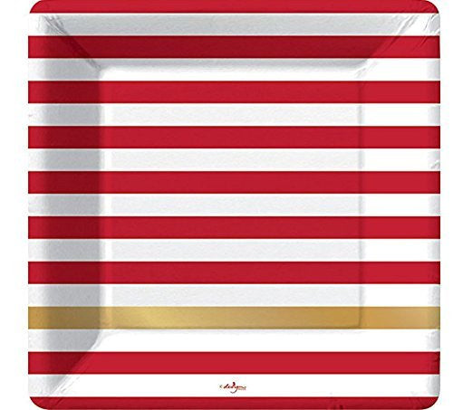 Kenzie Red White Gold Stripe Paper Dinner Plates