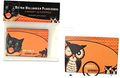 BETHANY LOWE Halloween Retro Placecards Black Cat and Owl