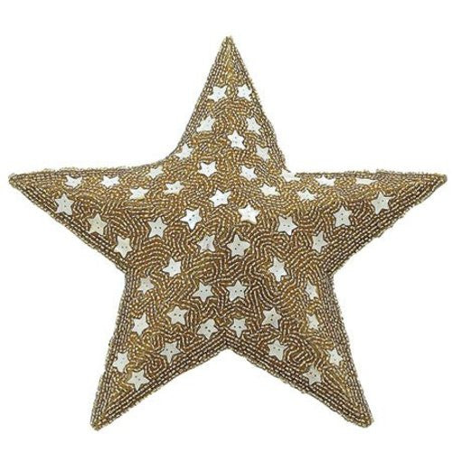 Gold Beaded Star Hanging Decoration
