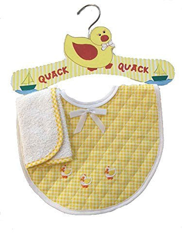 Duck Applique Yellow Gingham Baby Bib Hanger Set