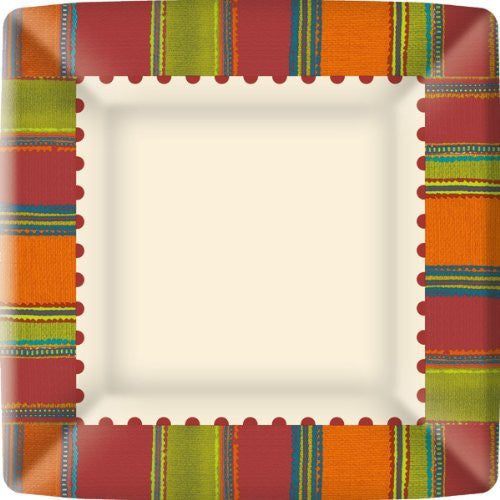 Red Habanera Square Paper Dinner Plates