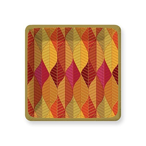 Orange, Red, Gold Gilded Leaves Dessert Paper Plates