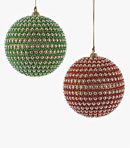 Katherine's Collection Metallic Gold Green Red Hanging Ornaments (Set/2)