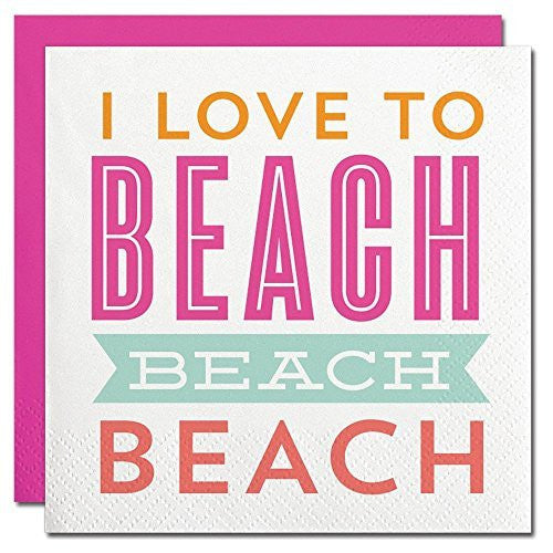 """Love to Beach"" Paper Beverage Napkins"