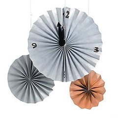 Countdown Clock Paper Hanging Fan Decorations (Set/3)
