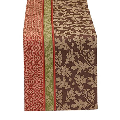 Oak Leaves Stripe Jacquard Table Runner