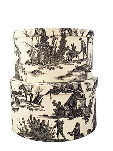 Morcheaux Chosis French Made Black Toile Fabric Covered Hatboxes (Set/2)ox