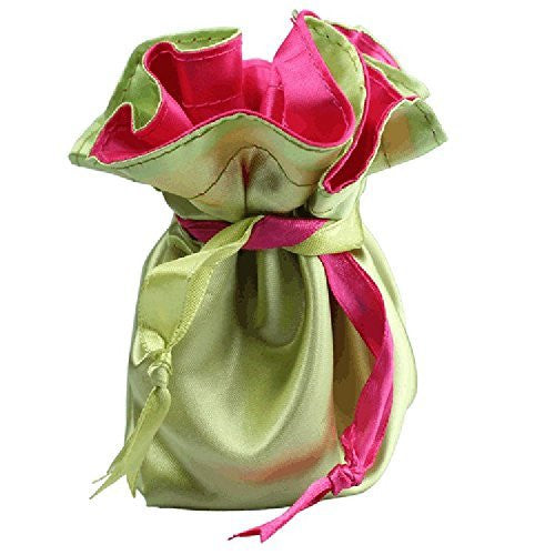Reversible Satin Jewelry Pouch Fuchsia / Lime Green Favor Gift Bag