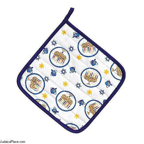 Chanukah Pot Holder - Menorah and Star of David
