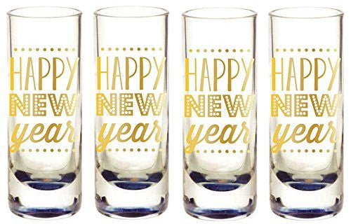 Gold Foil Happy New Year Shot Glasses (Set/4)