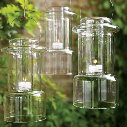 Glass Camp Lantern Tealight Holder