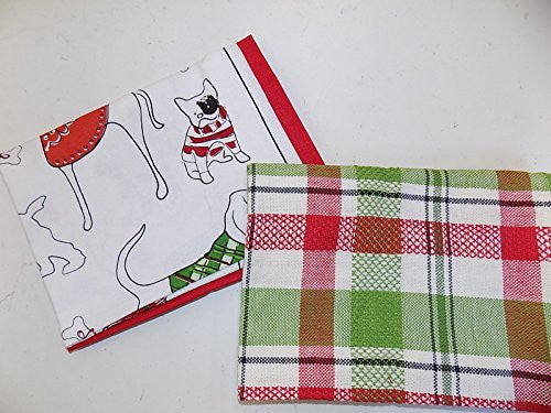 Holiday Dogs in Sweaters Dishtowels (Set/2)