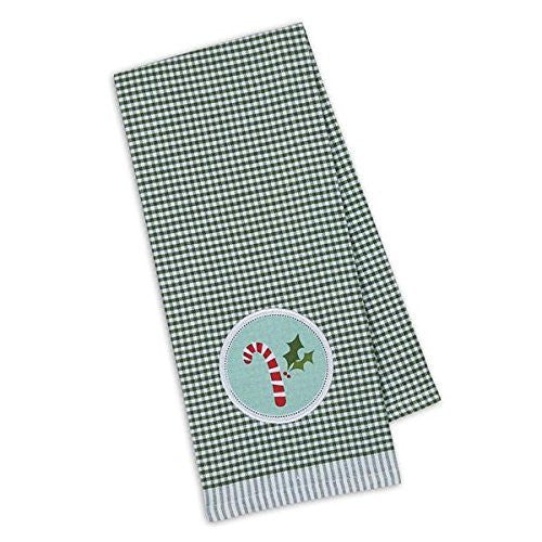 Candy Cane Embellished Dishtowel