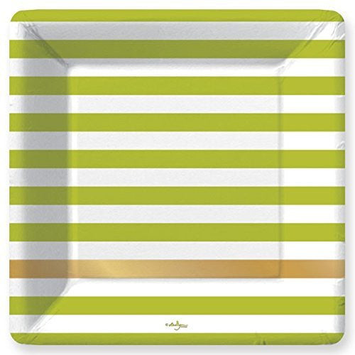 Kenzie Lime Green Stripe Paper Dinner Plates (8 count)