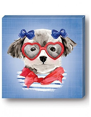 Blue Girly Dog Wall Art
