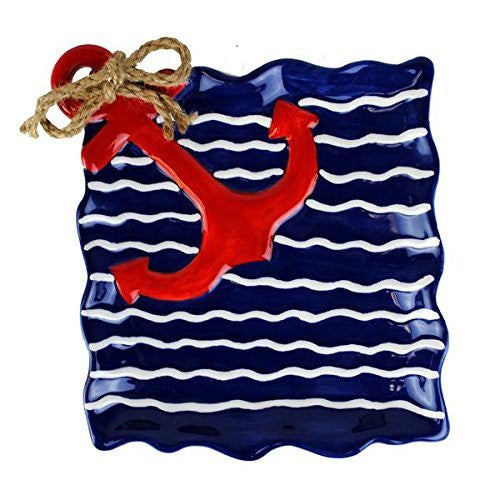 Blue Wavy Stripe Red Anchor Plate