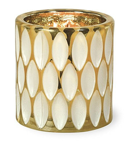 Oval Cream and Gold Metallic Tealight Holder