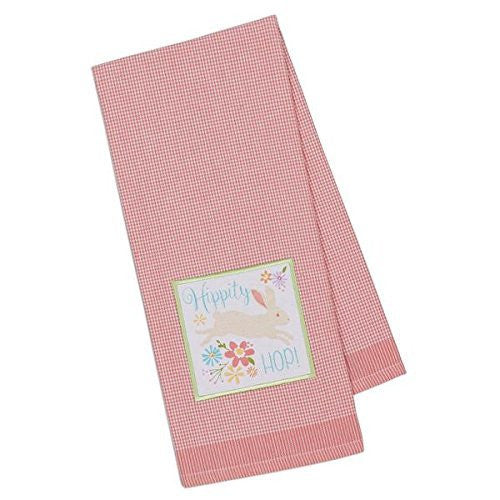 Bunny Hippity Hop Pink Gingham Dish Towel