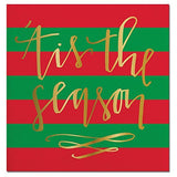 Tis the Season Red and green Paper Beverage Napkins