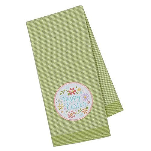 Happy Easter Green Gingham Dish Towel
