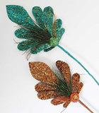 Katherine's Collection Glitter Encrusted Peacock Large Floral Stems - Set of 2