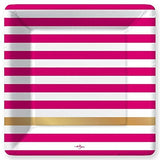 Kenzie Fuchsia Stripes Paper Dinner Plates