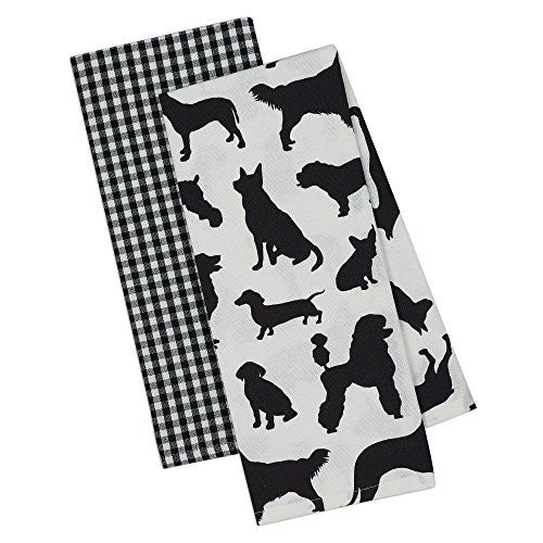 Dog Silhouttes and Plaid  Dishtowels (Set of 2)