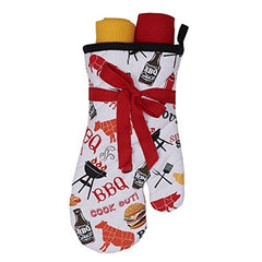 BBQ Oven Mitt and Dish Towel Gift Set