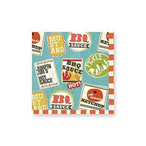 Retro BBQ Theme Beverage Paper Napkins,