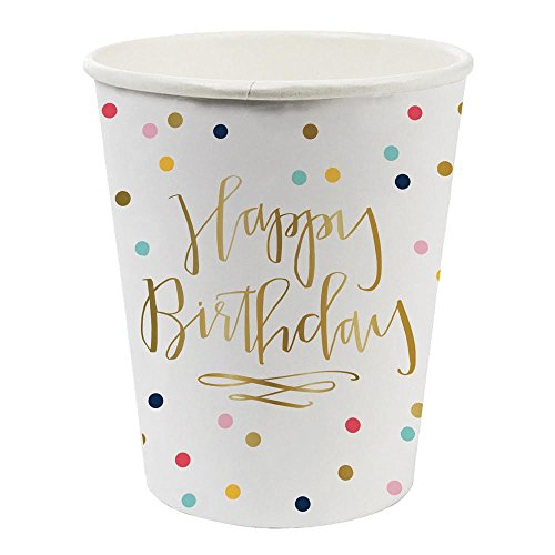 Happy Birthday Confetti Foil Design Paper Drinking Cups