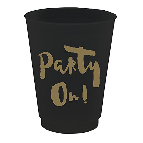"""Party On!"" Black Plastic Cups"