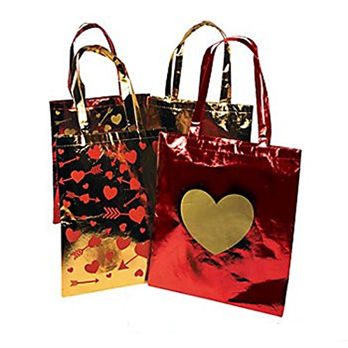Metallic Gold and Red Heart Tote Bags (1 Dz)