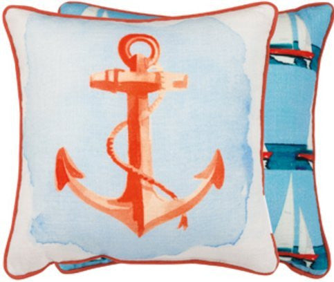 Anchor and Sail Boats Double Side Throw Pillow