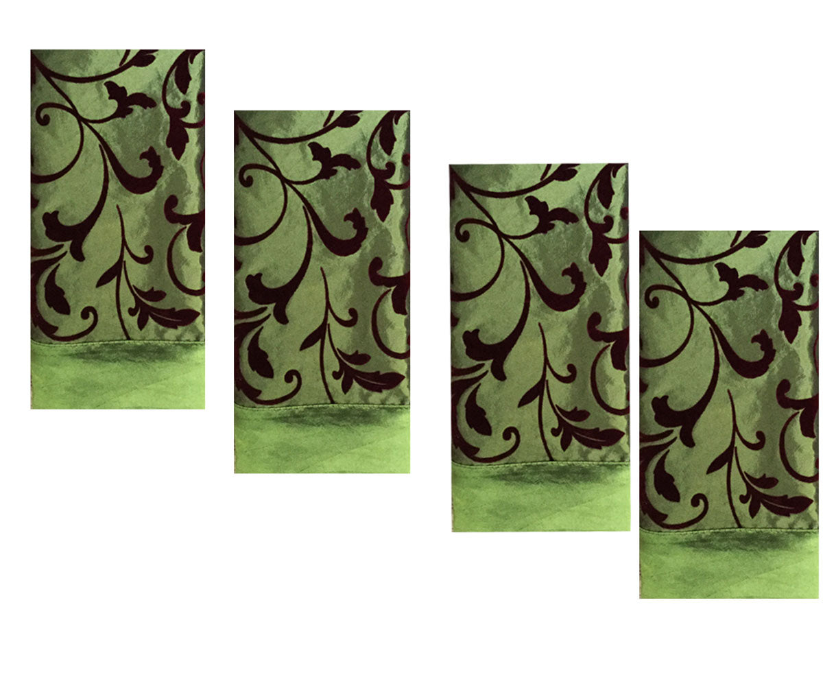 Green and Burgundy Red Velvet Scroll Extra Large Napkins (Set/4)