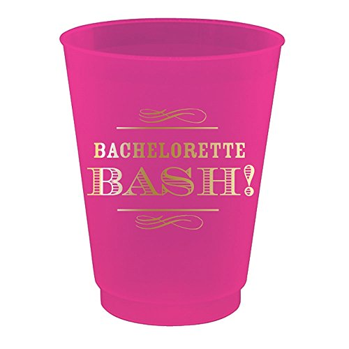 Bachelorette Bash Fuchsia and Gold Frosted Plastic Cups