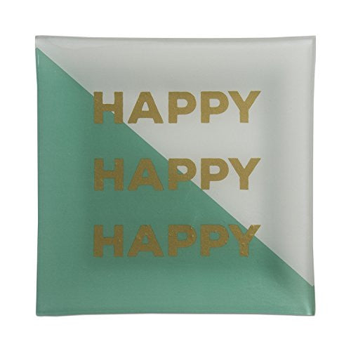 Emerald Green Happy Happy Happy Glass Plate