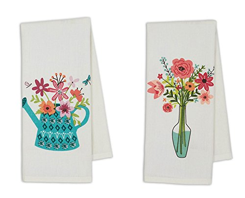 Floral Watercan and Vase Dishtowels (Set/2)