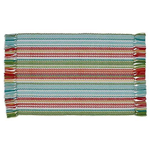 Design Imports Turquoise Green Red Orange Stripe Sea Spray Placemats (Set/4)