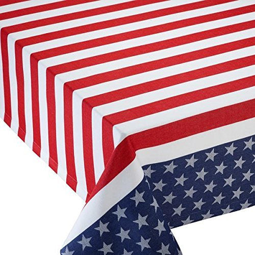Stars and Stripes Red White and Blue Jacquard Tablecloth