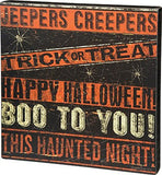 Orange Black Jeepers Creepers Wooden Sign
