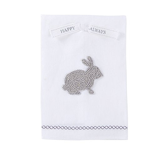 Bunny Design French Knot Hand Towel