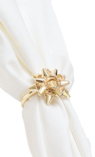 Gold Gift Bow Napkin Rings (Set/4)