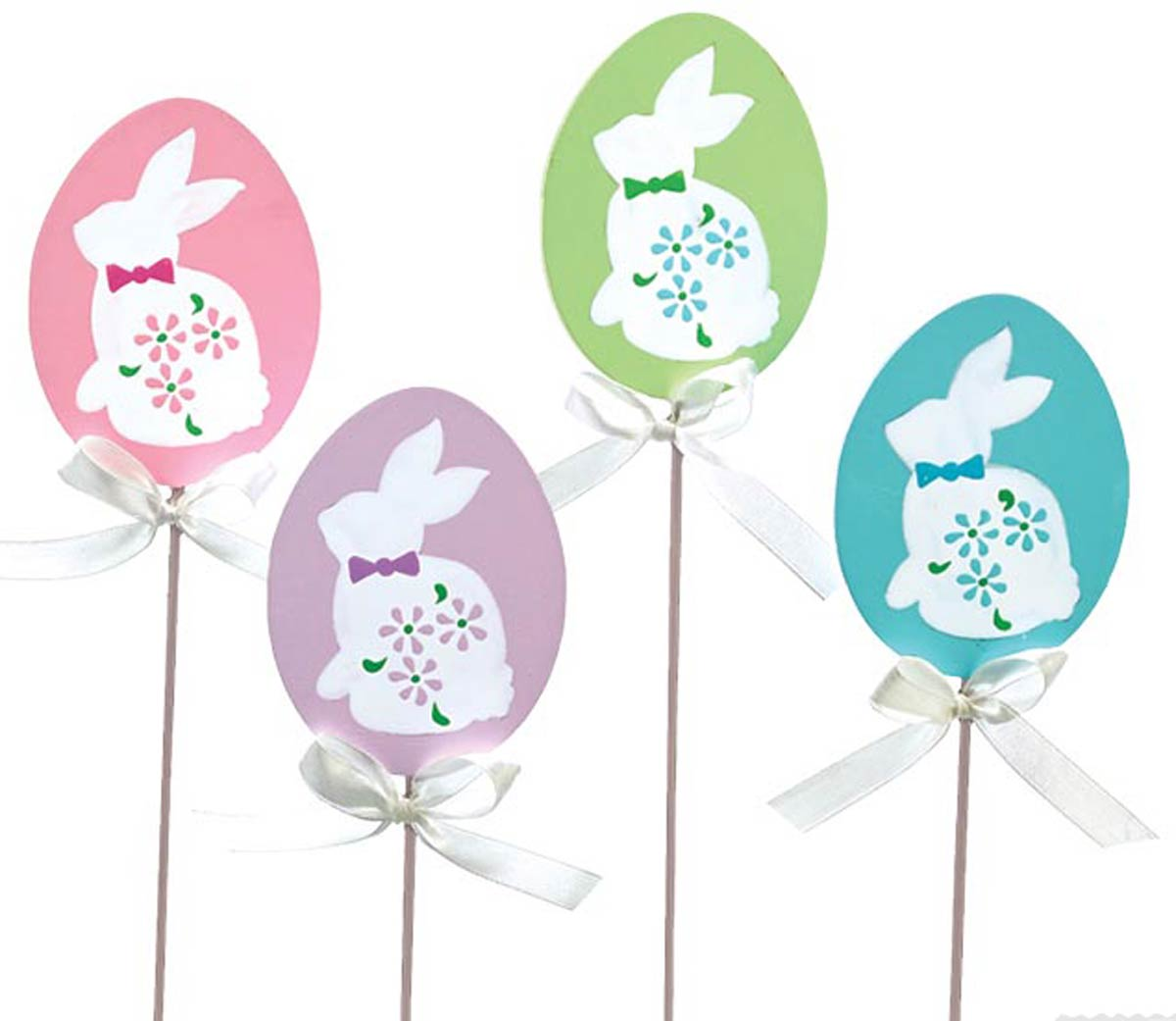 Egg Shape Wooden Picks with Bunny Silhouette Set of 4