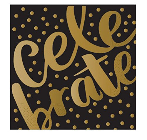 "Black Gold Foil ""Celebrate"" Luncheon Paper Napkins"