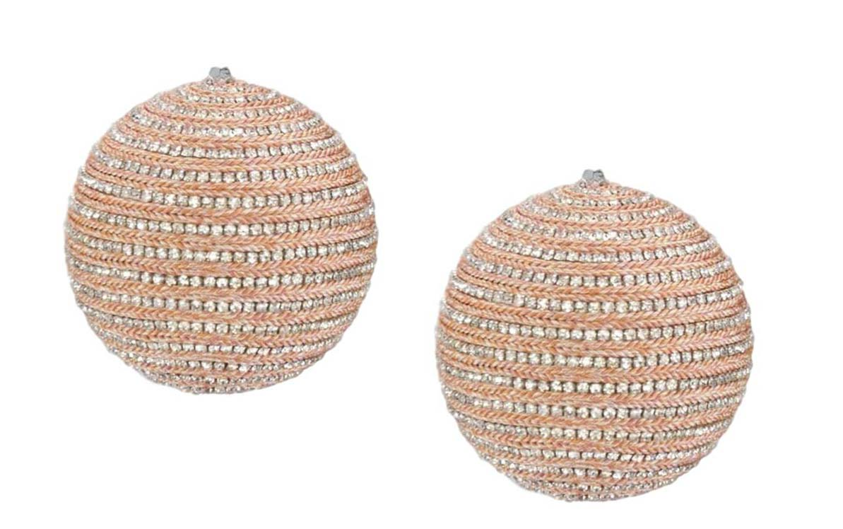 Katherine's Collection Pastel Peach Rhinestone Ball Ornaments
