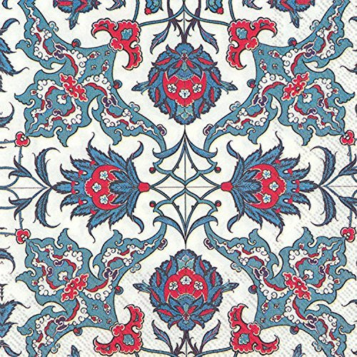 Blue Red Pattern Paper Beverage Napkins