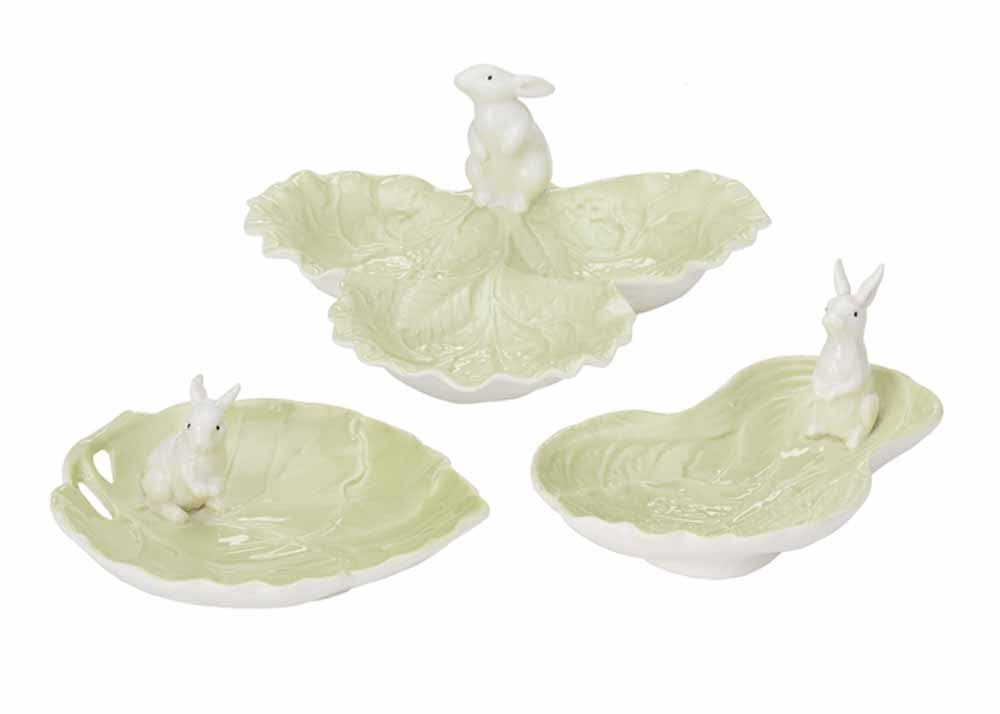 Lettuce Design and Bunny Serving Dishes (Set/3)