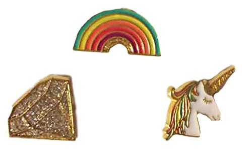 Unicorn Rainbow Diamond Enamel Pins