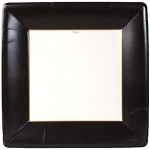 Black Square Dinner Paper Plates by Caspari