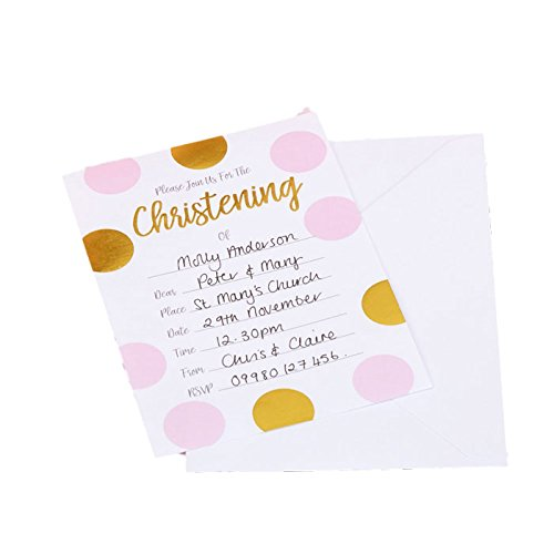 Neviti Pink and Gold Patternworks Polka Dots Christening Invitations (10 ct)